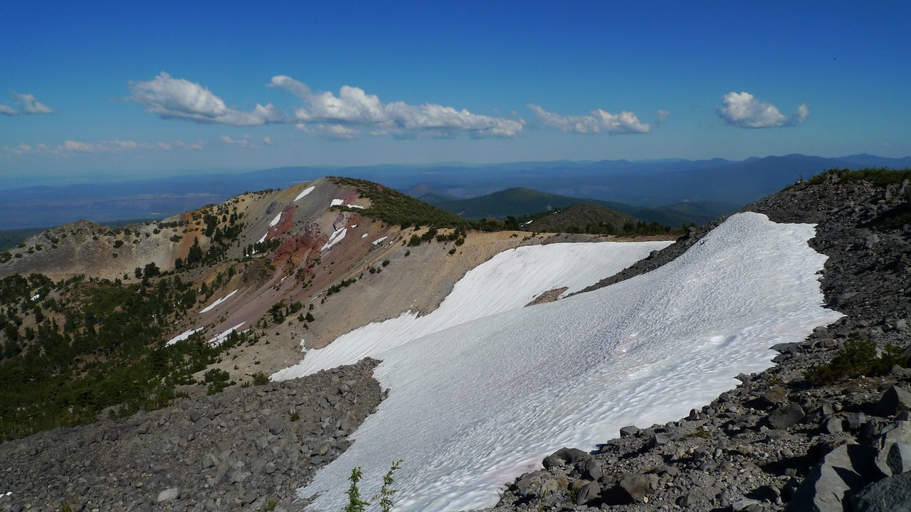Looking back towards Red Cliffs and the direction I came. You can see the switchbacks just left of the snow.
