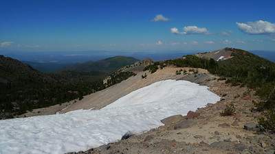 Top of the snow field. The trail came up in the dirt just beyond the snow.