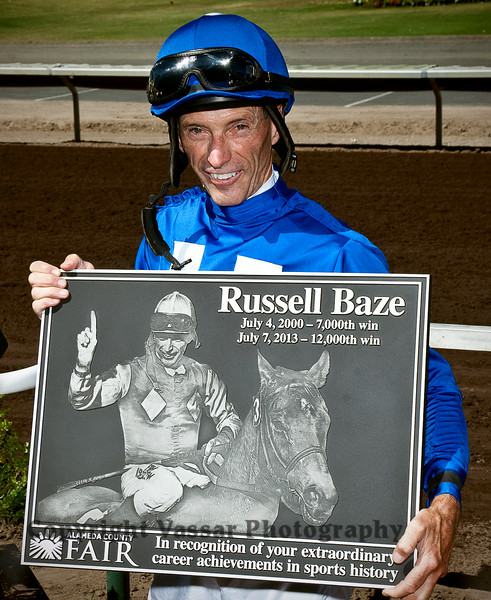 Russell Baze with dedication plaque