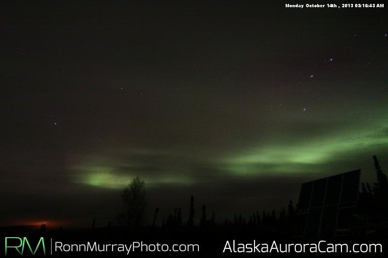 A Bit 'o Green - October 14th, Alaska Aurora Webcam