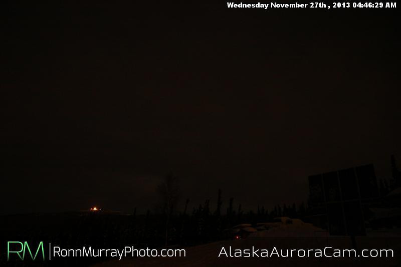 Clouds and quiet - Nov 27th, Alaska Aurora Cam
