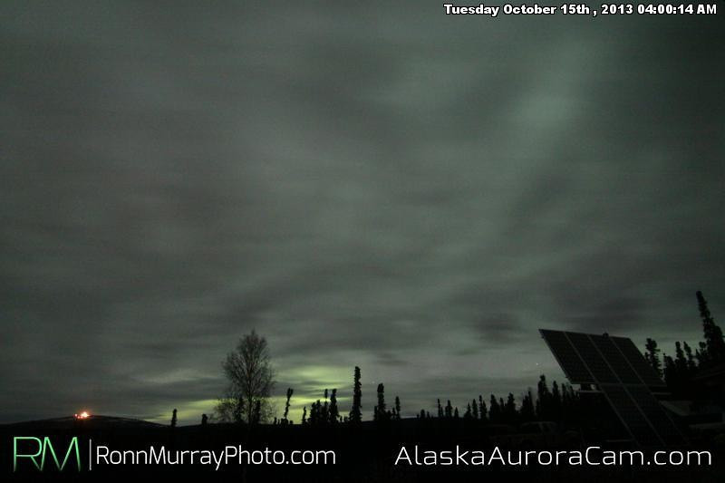 Cloudy Curtains - October 15th, Alaska Aurora Webcam