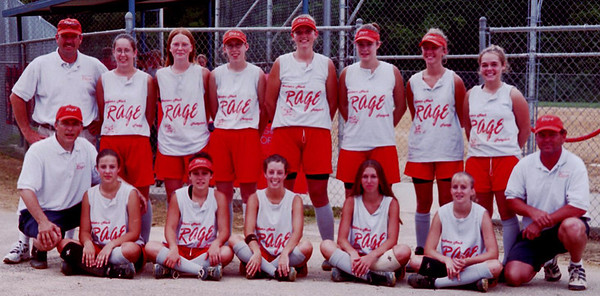The Northern Neck Rage 16U team in 2001 at Mathis Park in Hopewell, Va. after the first day of travel fastpitch softball for a NNR team.