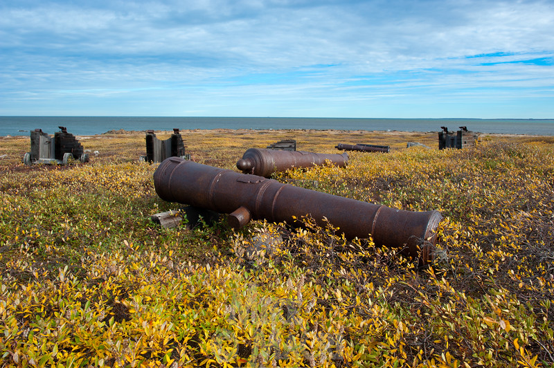 Cannons and cannon carriages outside Prince of Wales Fort, Churchill Manitoba Canada.