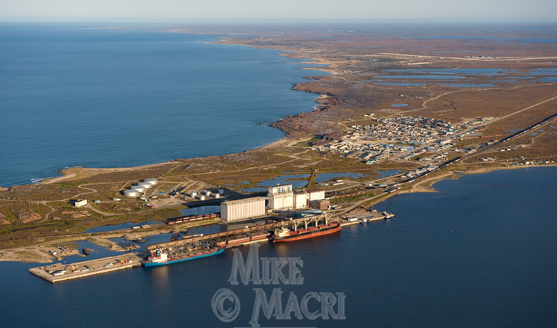 Town of Churchill Manitoba, photographed from Northwest. For winter photos of the town of Churchill see Churchill Northern winter gallery.