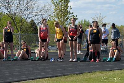 High School Girls Track & Field Home Meet, 2021 May 13, Northfield Middle School venue, Northfield, Minnesota USA.