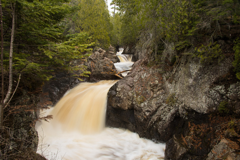 A series of small Cascade River waterfalls in Cascade River State Park.