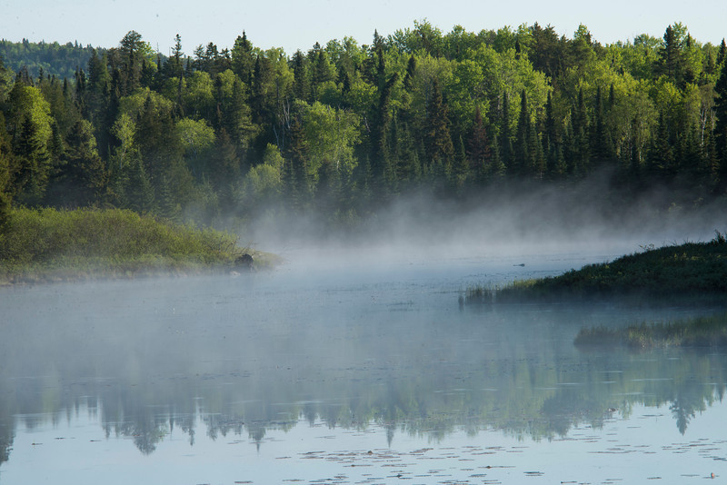 A misty morning on a swampy area alongside 'The Grade' north of Grand Marais.