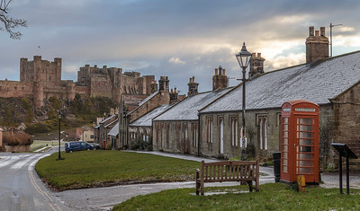 Bamburgh Castle in dusting of winter snow