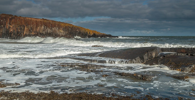 Cullernose Point - dramatic waves across basalt ledges
