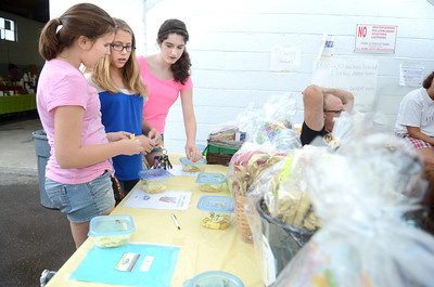 Claudia Girardi, 13, left, Elysburg, Cally Seidel, 11, Elysburg, and Lauryn Hower, 13, Elysburg, play a Chinese Auction at the All Homes Days in Elysburg on Monday afternoon.