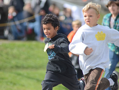 Halifax School District students compete in the 50 meter dash at the Area M Special Olympics at Line Mountain High School on Wednesday morning.