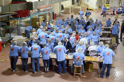 More than 75 current and former employees of ConAgra showed up Friday morning to pack meals for the Kids Against Hunger Program.