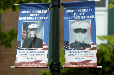 Two of the veteran's banners hung in Cameron Park in Sunbury.