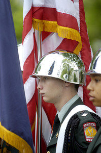 Shikellamy JROTC member Shane Spencer, 17, at the Hometown Veterans Celebration in Sunbury on Saturday.