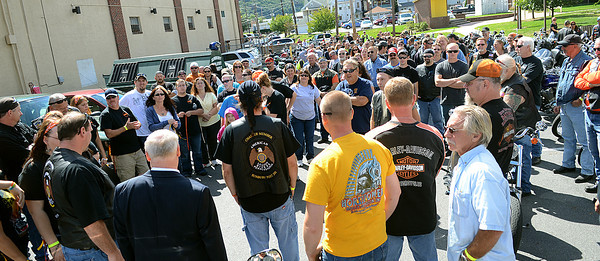 Hundreds of supporters from six counties gathered at the Sunbury American Legion before crossing the Veterans Memorial Bridge on their way to Montandon during the Kirk and Mayson Memorial Ride and Benifit Saturday Sept. 15, 2012.
