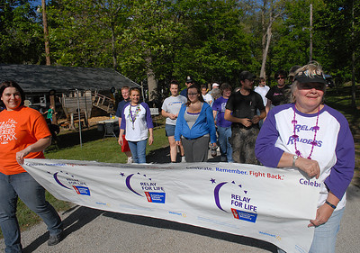 Julie Kauwell and Elaine Klock start off the Line Mountain's Relay for Life at the Himmel's Church Grove Friday May 11, 2012 in Rebuck.