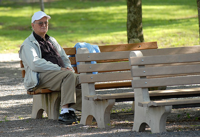 Gerl Snyder of Rebuck keeps an eye on his granddaughter, Cassie Snyder, and the other walkers participating at the Line Mountain's Relay for Life at the Himmel's Church Grove Friday May 11, 2012 in Rebuck.