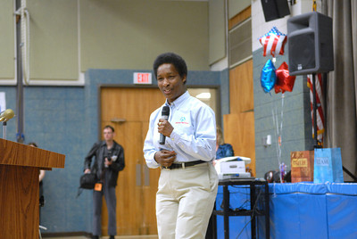 Special Olympic athlete Loretta Claiborne talked Tuesday morning at the Baugher Elementary School in Milton.