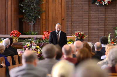 Merle Phillips Son-In-Law John Bysko, speaks at his funeral on Saturday.