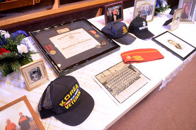 Momentos of Merle Phillips on display at his funeral on Saturday.