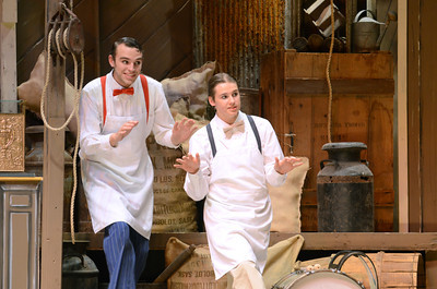 Neil Hoover, left, and Mark Artley, play the roles of Cornelius and Barnaby in Milton High School's production of Hello Dolly.