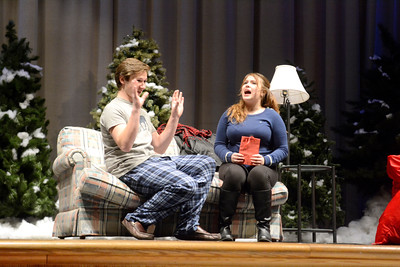 Camden Choplick, left, and Tara Wands, go through their lines during a rehearsal for Milton High School's production of Almost Maine.