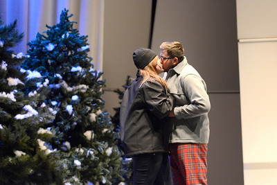 Alecia McElwee gets kissed by Bradley Ditty during Milton High School's rehearsal for their production of Almost Maine.