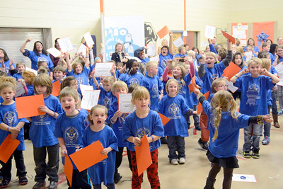 Students at the Montandon Elementary School cheer on Thursday during an assembly honoring them for achieving Blue Ribbon status.