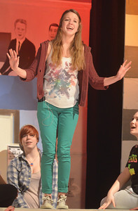 "Jessica Pachuski as Sandy sings ""Summer Nights"" during Mount Carmel's rehearsal for their spring musical ""Grease."" The show will be held at 7:30 p.m. March 15 and 16 at the Mount Carmel Area Junior-Senior High Schoo Auditorium."