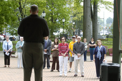 A small crowd gathered in Cameron Park in Sunbury on Thursday afternoon for a National Day of Prayer gathering.