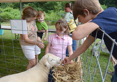 Cindy Johnson, from left, and her grandson, Dylan Johnson, 2, Ashley Hamilton, 7, of Willamsport, and Cody Rooker, 13, of Turbotville take a closer look at some of the animals on display Friday at the Northumberland County Fair