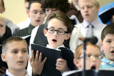 Northumberland Christian School student Luke O'Brien sings during the school's spring program on Friday.