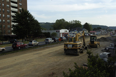 Construction along Front Street in Sunbury has traffic down to one lane causing traffic backups on Thursday aftenroon.