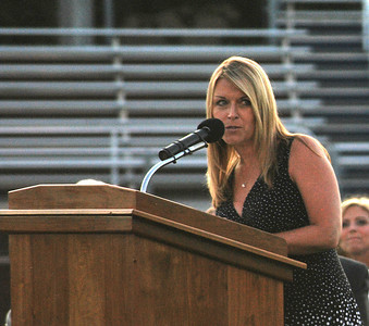 Amanda August/For The Daily Item Shikellamy Class of 2012 Advisor Christy Krieger makes her remarks during the commencement ceremony on Friday night in Sunbury.