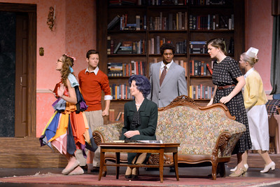 Cast members for Shikellamy High School's production of The Curious Savage, Kaitlyn Carey, left, Noah Spencer, Natalie Shoch, Noah Fenstermacher, Maddie DePinto and Annie Herbster, rehearse on Tuesday.
