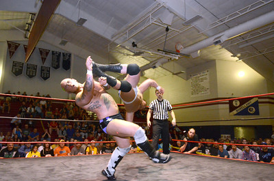 Mark Maverick gets kicked in the face by Mr. Excellence Brandon Scott during their match on Saturday at the Shikellamy Showdown.