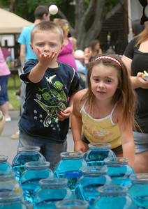 Logan Wetzel, 3, and his sister Jaidyn, 5, of Sunbury concentrate as they toss their pingpong balls to win a prize at one of the stands during the Sunbury Fireman's Festival Saturday June 9, 2012.