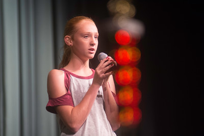 Aubrey Chappell ,the second place winner, sings to crowd during the Valley's Got Talent show on Thursday night.