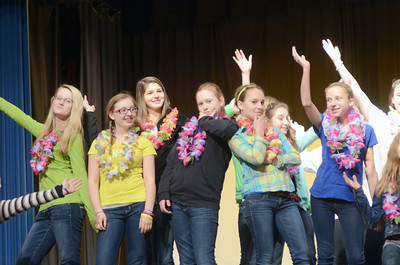 Warrior Run Middle School students rehearse for their upcoming musical Dear Edwina.