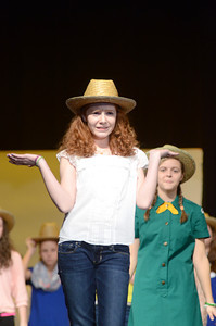 Warrior Run Middle School student Abigail Stamin sings a song during a dress rehearsal for their upcoming musical, Dear Edwina.