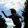 Mike Goldman of Watsontown throws a horse shoe during Watsontown's annual 4th of July celebration.