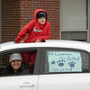 Teachers and staff from the Northwest Elementary School in Leominster had a car parade throughout some of the city. Waiting for the parade to start is Taryn DiVito and her son northwest fifth grader Dominic DiVito. SENTINEL & ENTERPRISE/JOHN LOVE