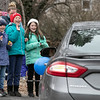 Teachers and staff from the Northwest Elementary School in Leominster had a car parade throughout some of the city. Watching the parade is, from left, Northwest students Addison Blanchette, 7, Molly Schindler, 10, and Haley Taylor, 9. SENTINEL & ENTERPRISE/JOHN LOVE