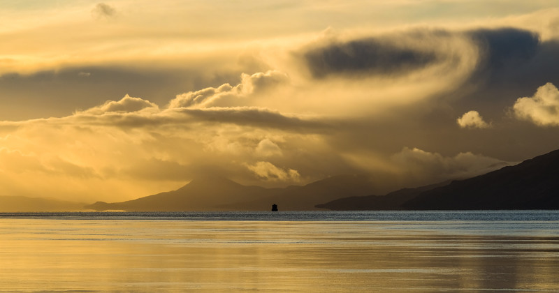 Sunset over Morven as seen from the Corran Ferry jetty, near Fort William.