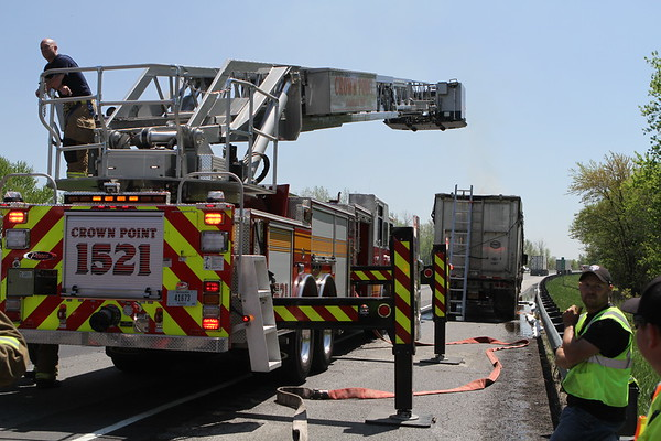 Lowell Indiana  Fire Department Semi Truck Fire