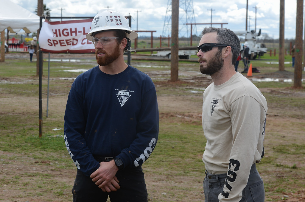. Kyle Ripberger (left) and Ryan Tuley (right) stand during Northwest Lineman College\'s graduation rodeo, March 15, 2018, in Chico, California. (Carin Dorghalli -- Enterprise-Record)