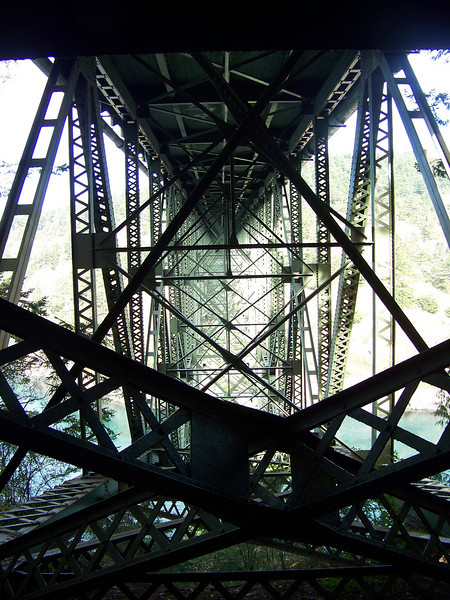 The underside structure of the Deception Pass bridge.