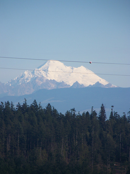 A zoomed-in shot of Mount Baker, as seen from the Deception Pass bridge.