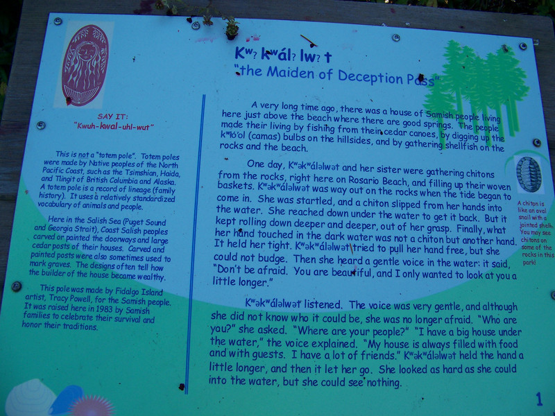Plaques surrounding the statue tell the complete story of the maiden.  This is part one of her story.<br /> [Deception Pass State Park]